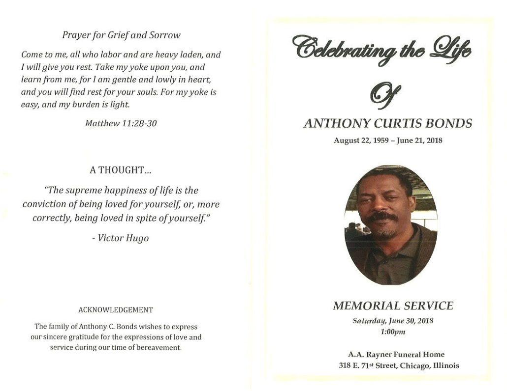 Anthony Curtis Bonds Obituary