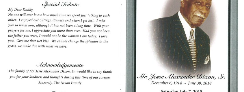 Jesse Alexander Dixon Sr Obituary