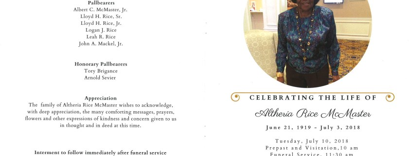 Altheria Rice McMaster Obituary AA Rayner and Sons Funeral Home