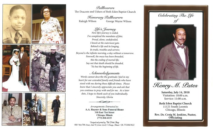 Henry M Pates Obituary