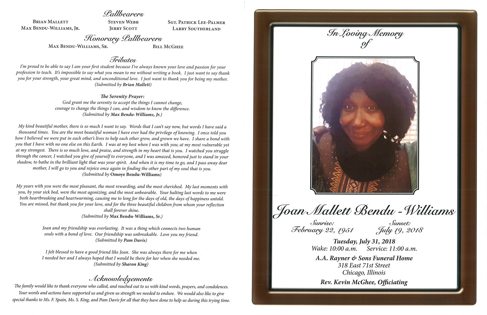 Joan Mallett Bendu Williams Obituary | AA Rayner and Sons