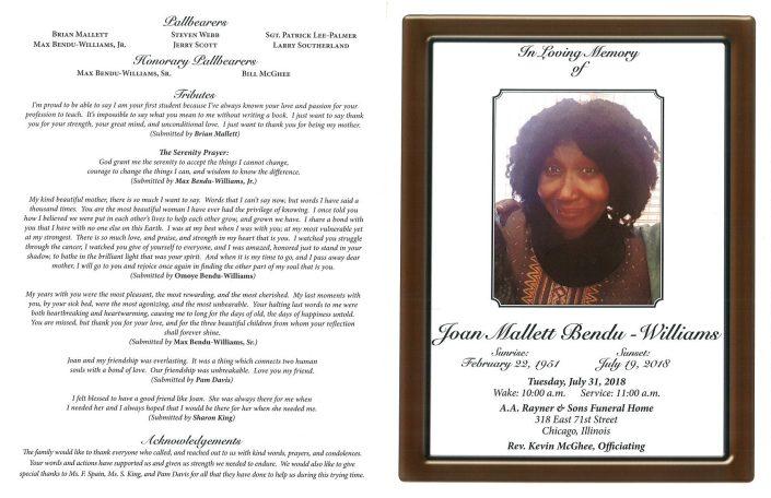 Joan Mallett Bendu Williams Obituary