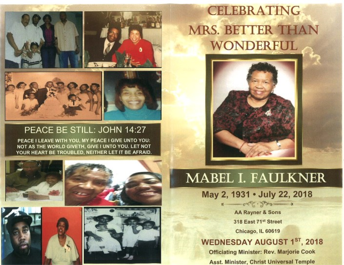 Mabel I Faulkner Obituary AA Rayner and Sons Funeral Home Chicago