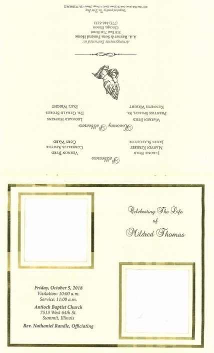 Mildred Thomas Obituary