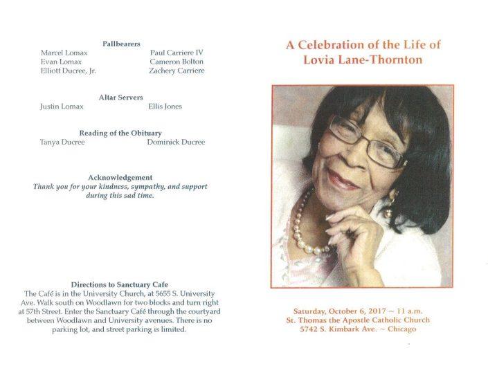 Lovia Lane Thornton Obituary