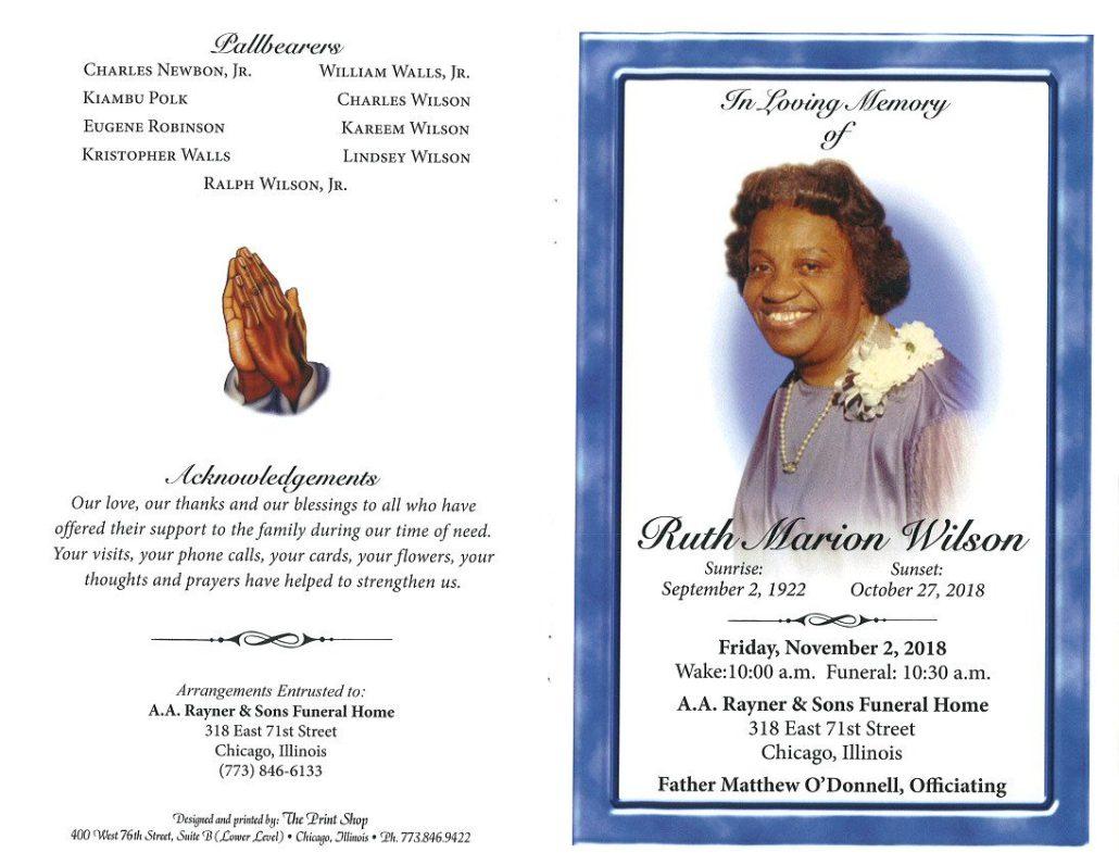 Ruth Marion Wilson Obituary
