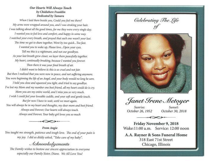 Janet Irene Metoyer Obituary