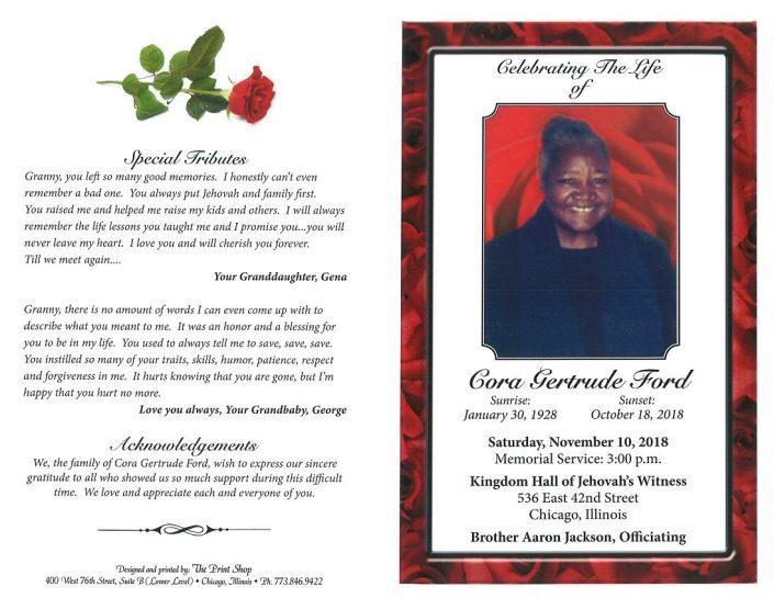 Cora Gertrude Ford Obituary