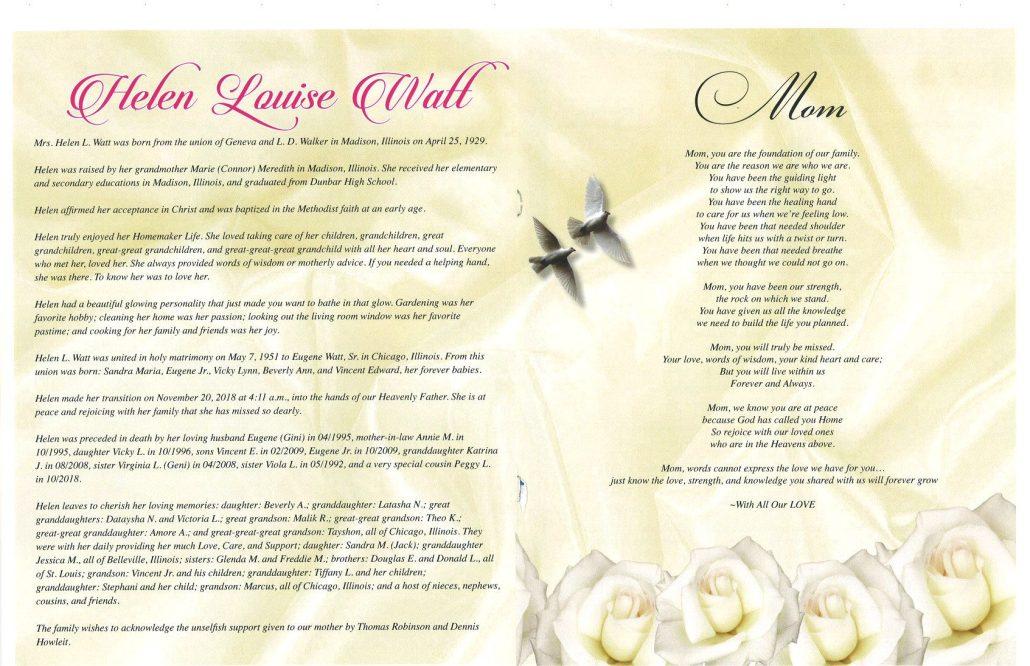 Helen Louise Watt Obituary