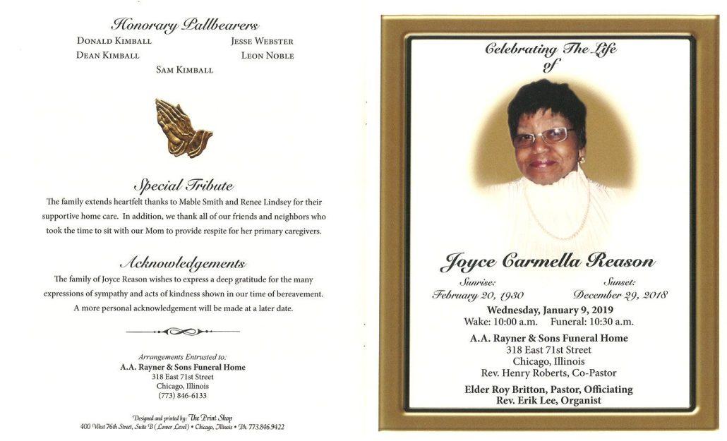 Joyce Carmella Reason Obituary