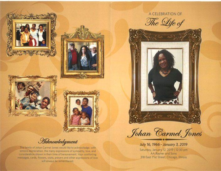 Johan Carmel Jones Obituary