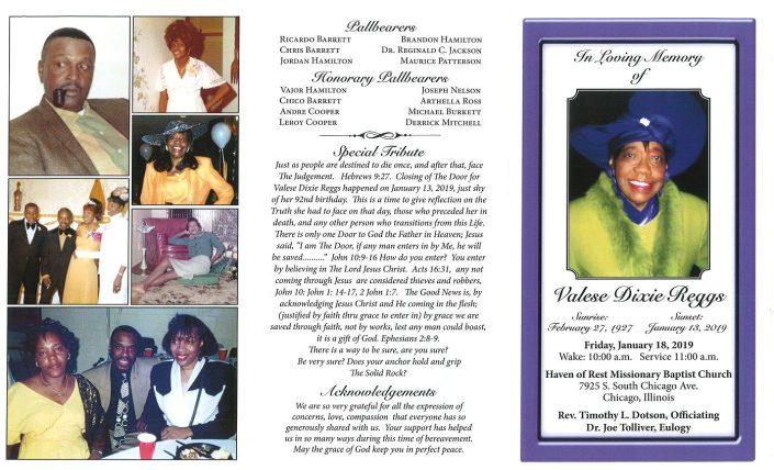 Valese Dixie Reggs Obituary