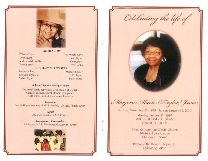Marjorie Marie Taylor James Obituary
