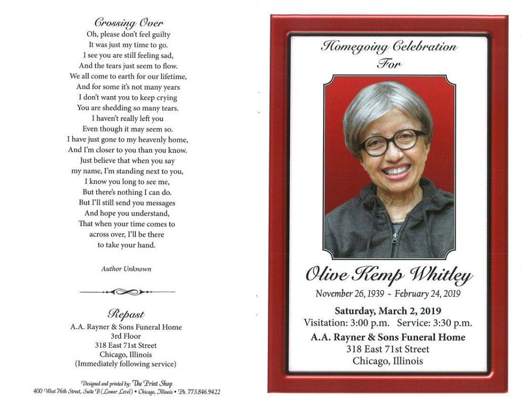 Olive Kemp Whitley Obituary