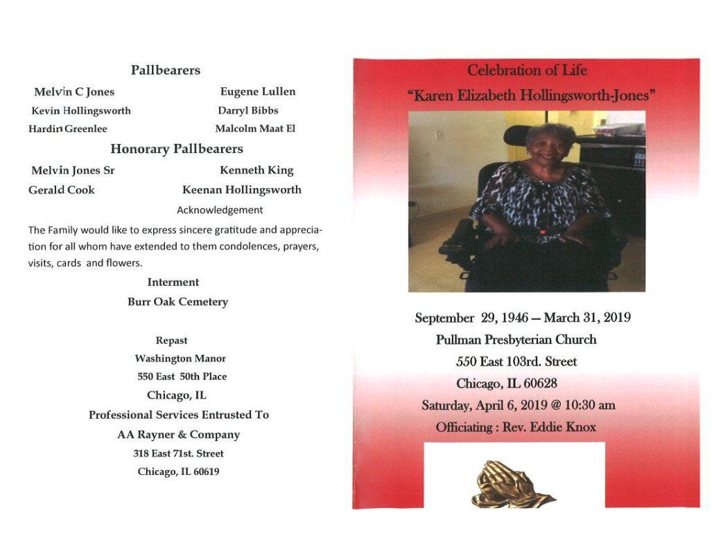 Karen Elizabeth Hollingsworth-Jones Obituary