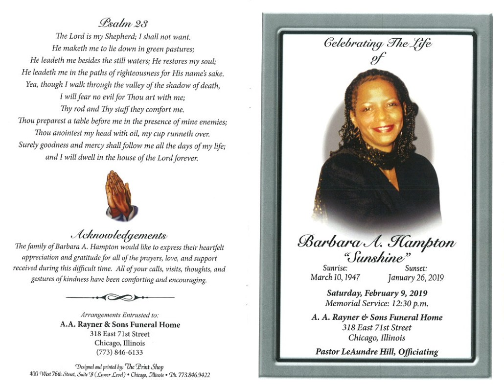 Barbara A Hampton Obituary