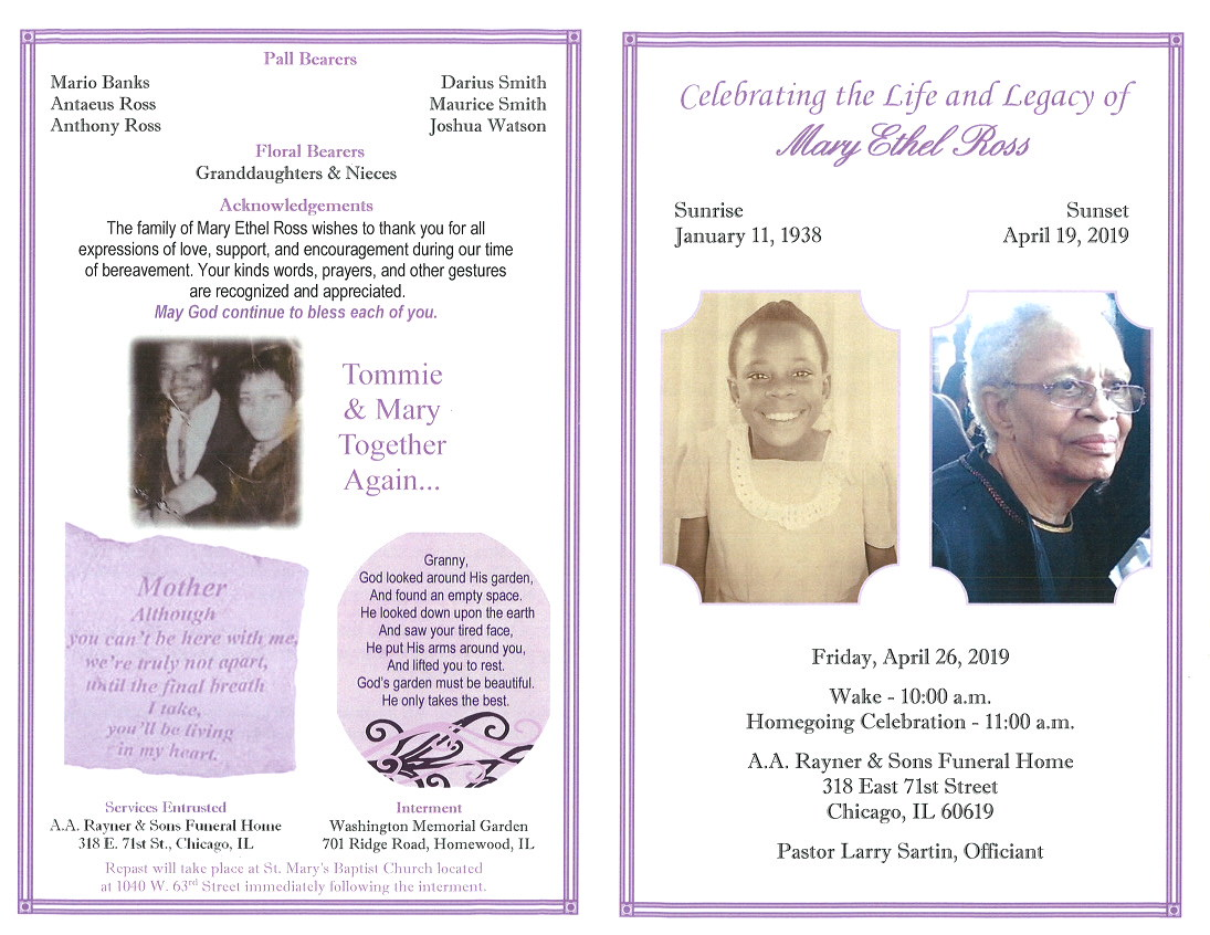 Ross Around Me >> Mary Ethel Ross Obituary Aa Rayner And Sons Funeral Home