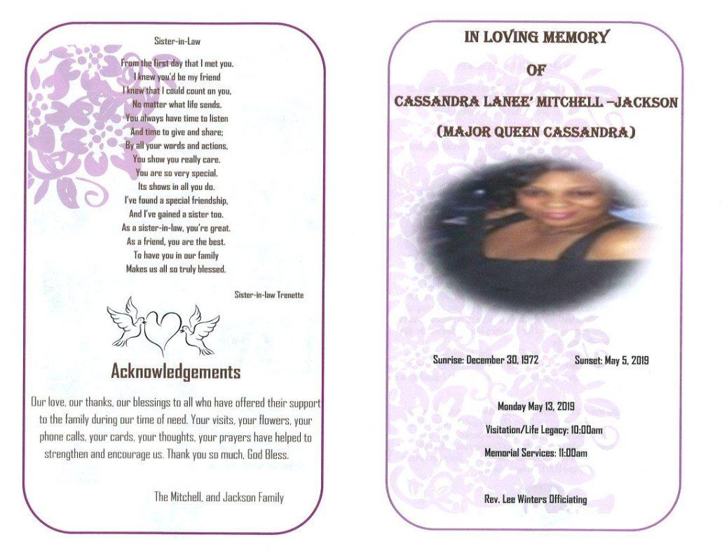 Cassandra Lanee Mitchell Jackson Obituary