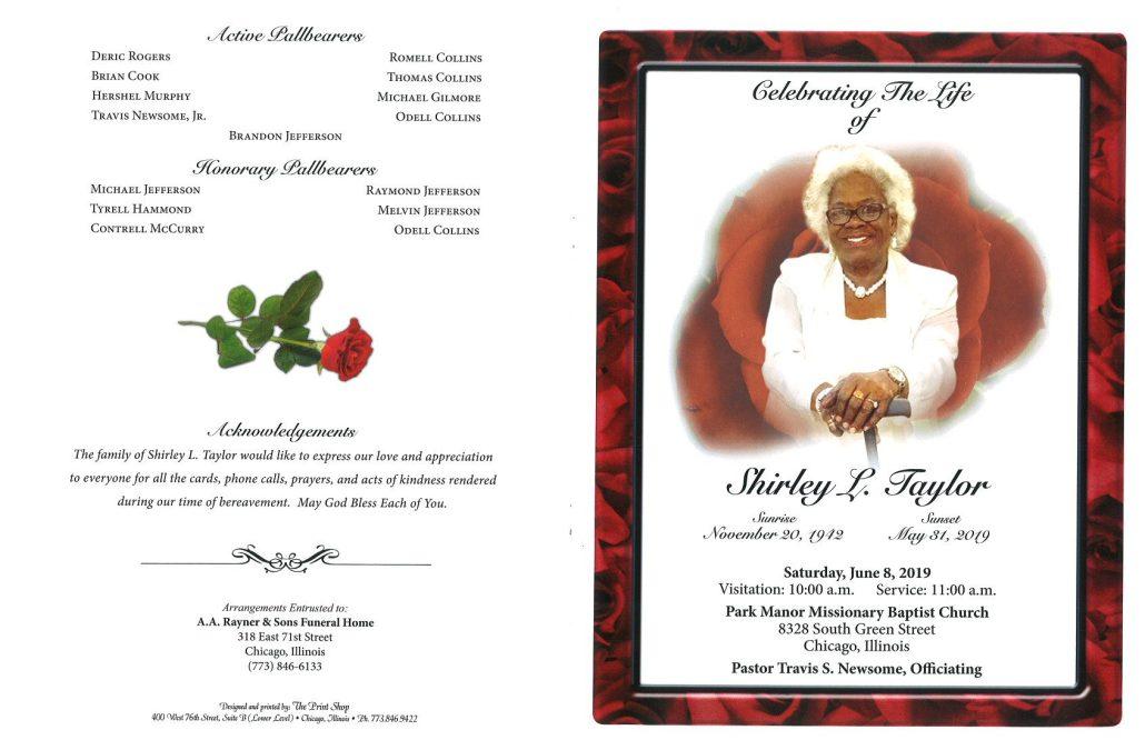 Shirley L Taylor Obituary