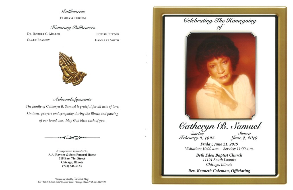 Catheryn B Samuel Obituary