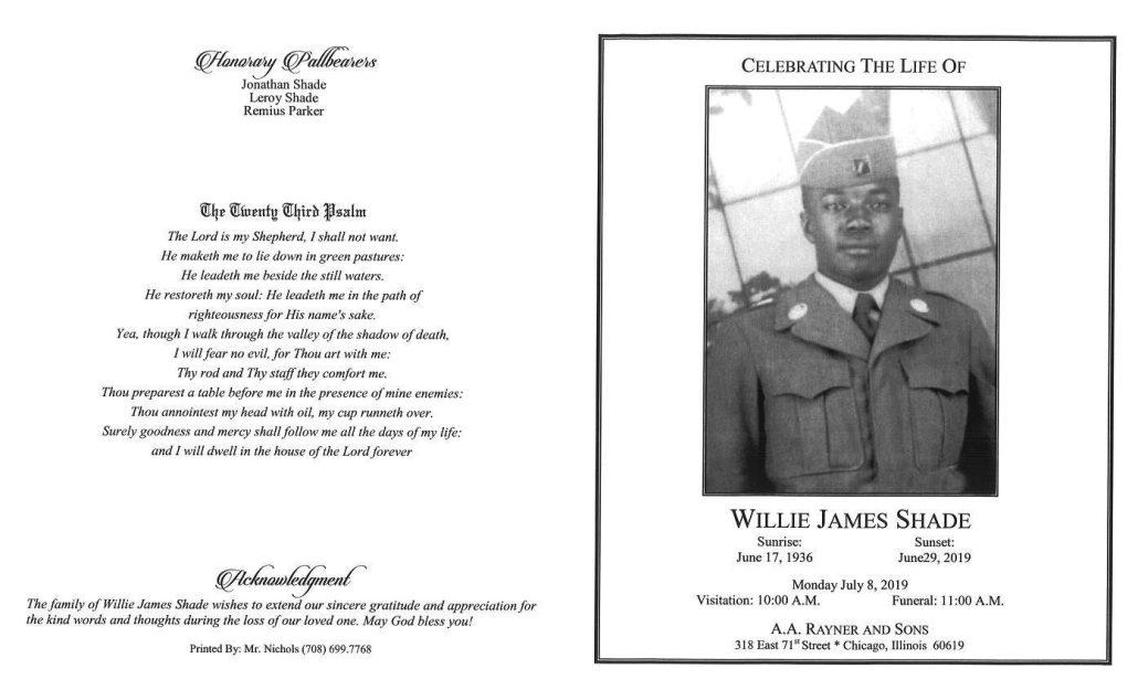 Willie J Shade Obituary