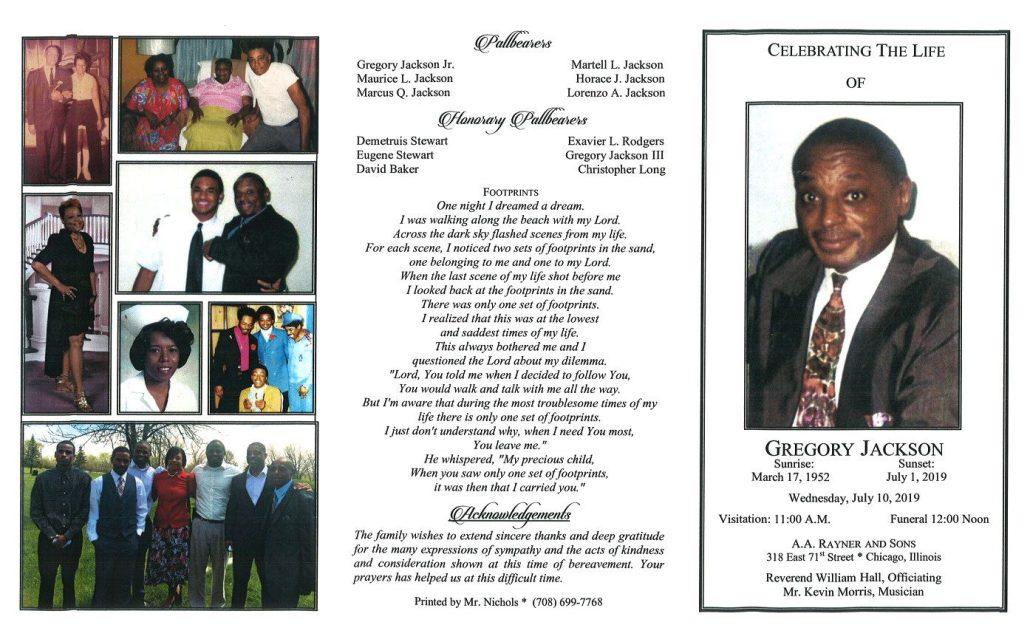 Gregory Jackson Obituary
