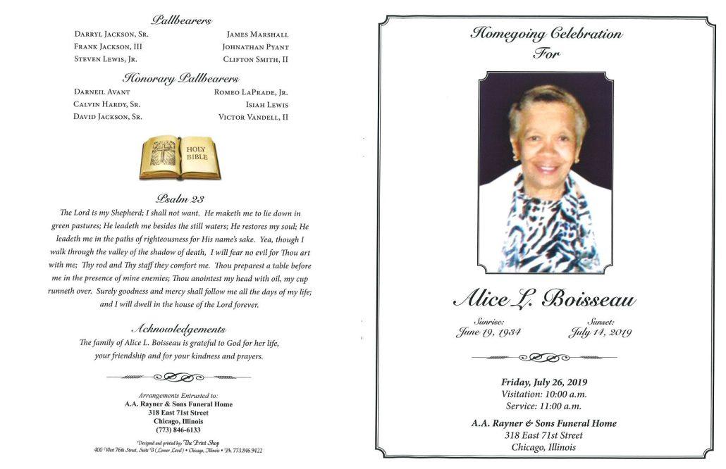 Alice L Boisseau Obituary