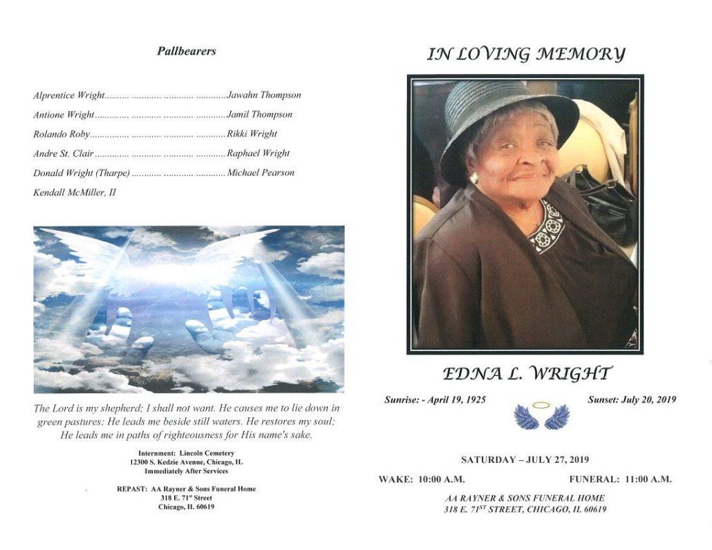 Edna L Wright Obituary