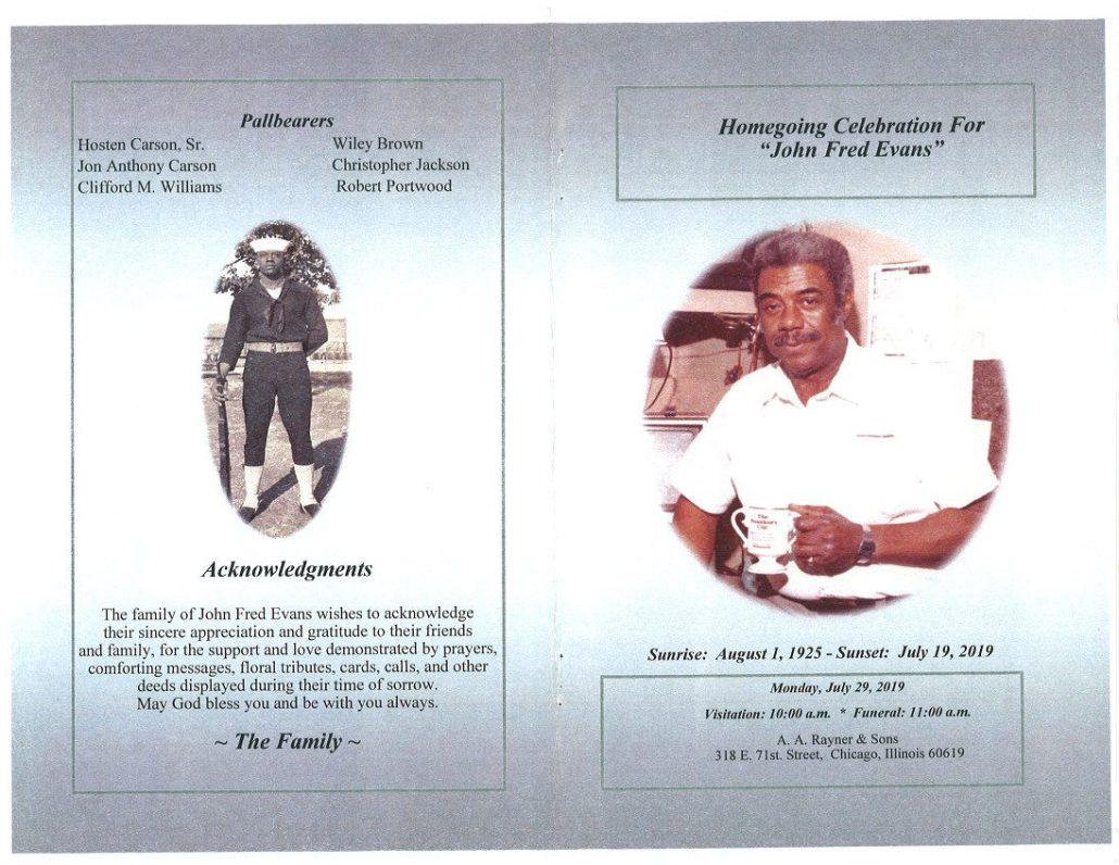 John Fred Evans Obituary