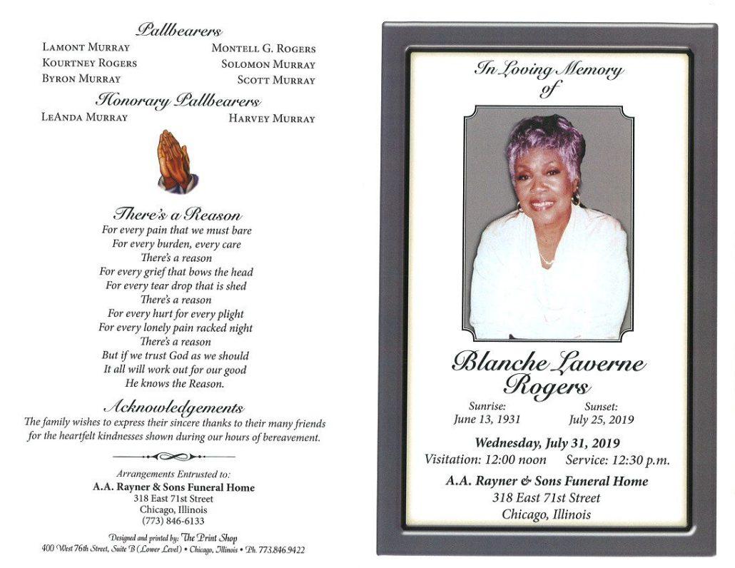Blanche L Rogers Obituary