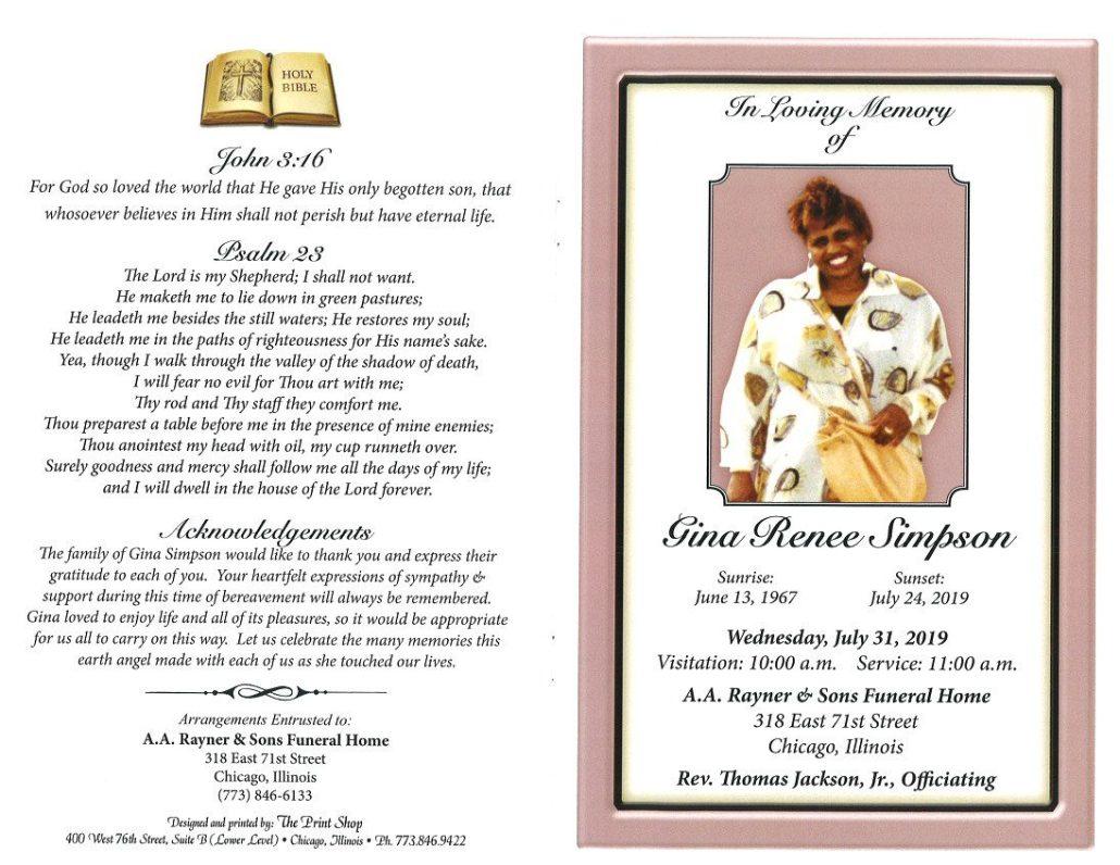 Gina R Simpson Obituary