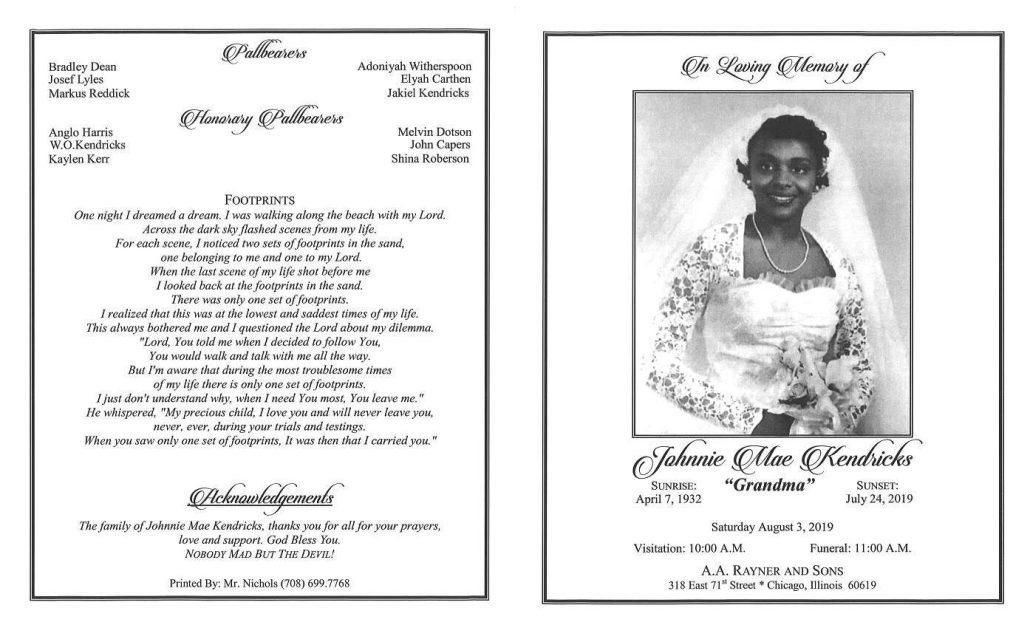 Johnnie M Kendricks Obituary
