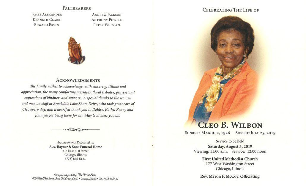 Cleo B Wilbon Obituary