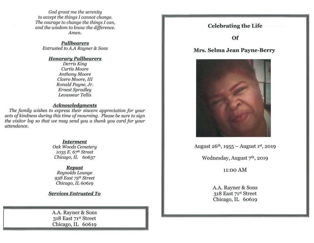 Selma J Payne Berry Obituary