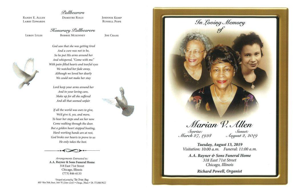 Marian V Allen Obituary