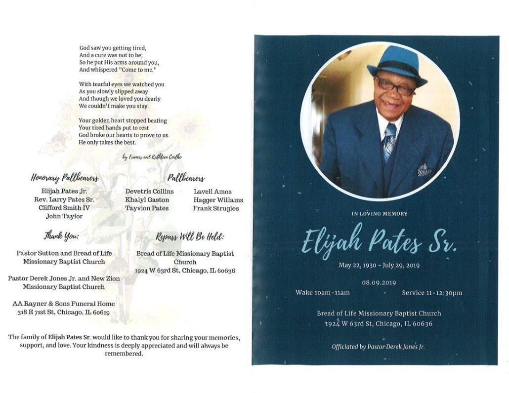 Elijah Pates Sr Obituary