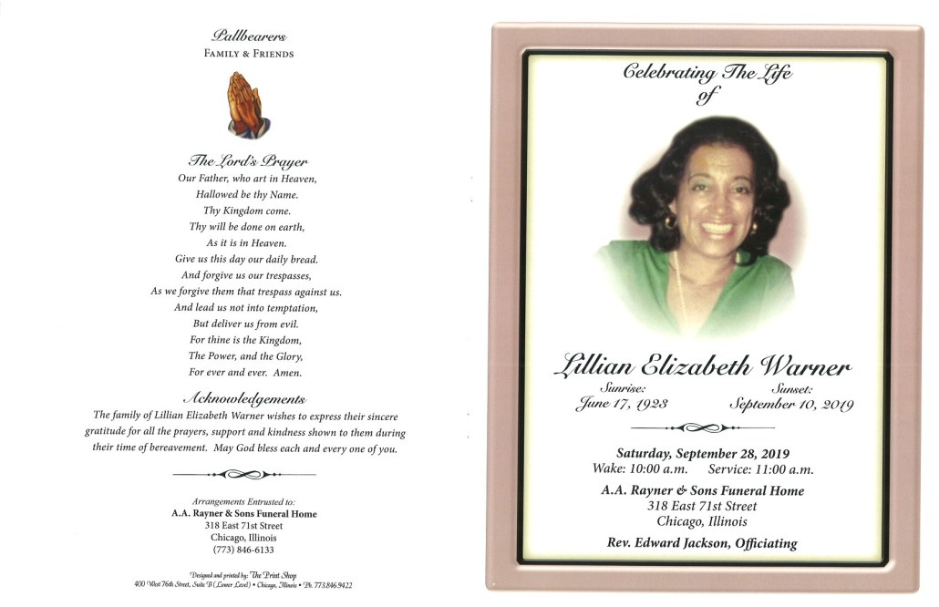Lillian E Warner Obituary