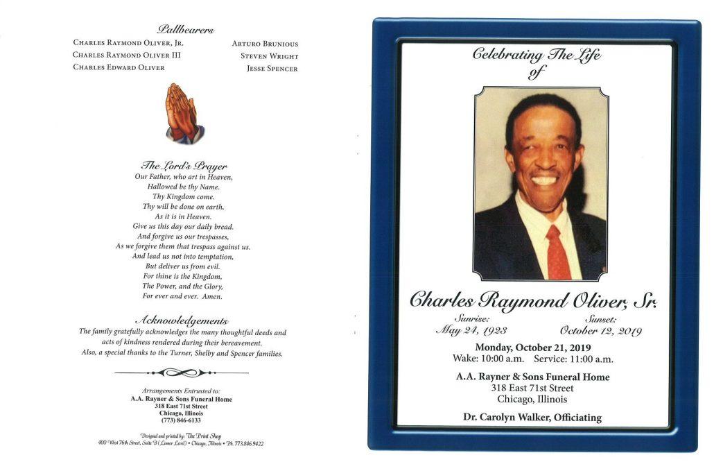 Charles R Oliver Sr Obituary