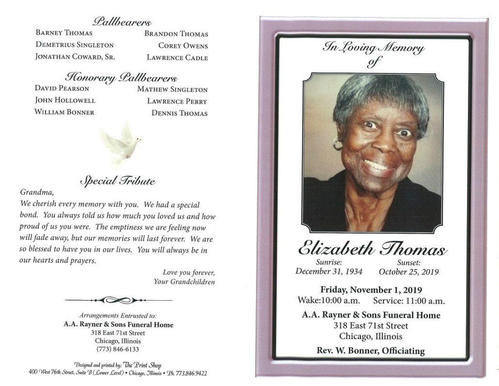 Elizabeth Thomas Obituary