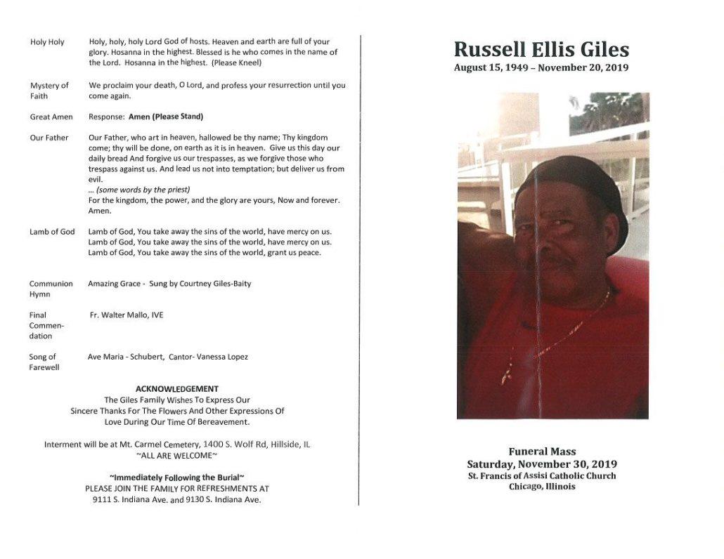 Russell E Giles Obituary