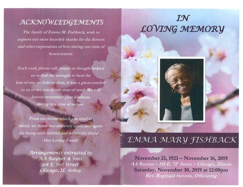 Emma M Fishback Obituary