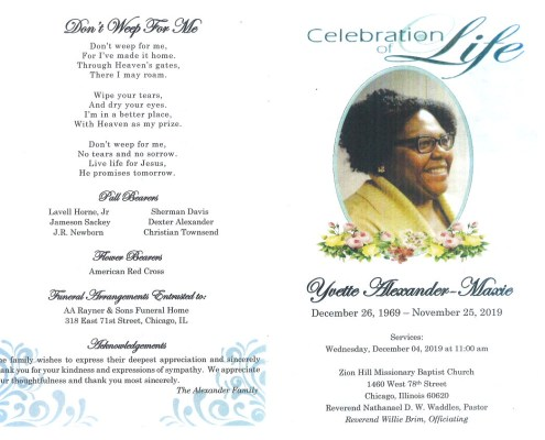 Yvette Alexander Maxie Obituary
