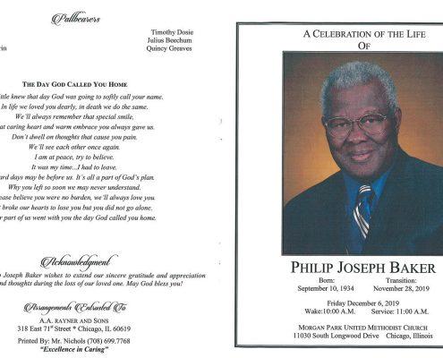 Philip J Baker Obituary
