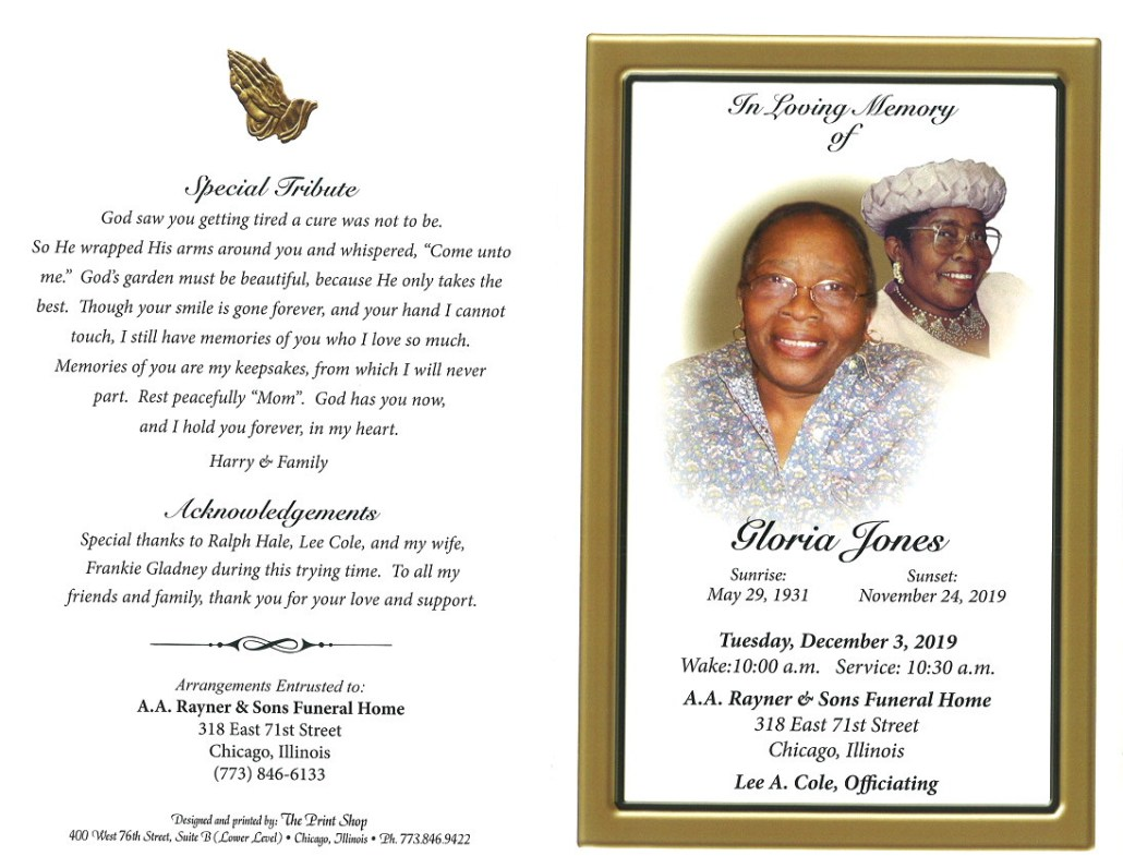 Gloria Jones Obituary