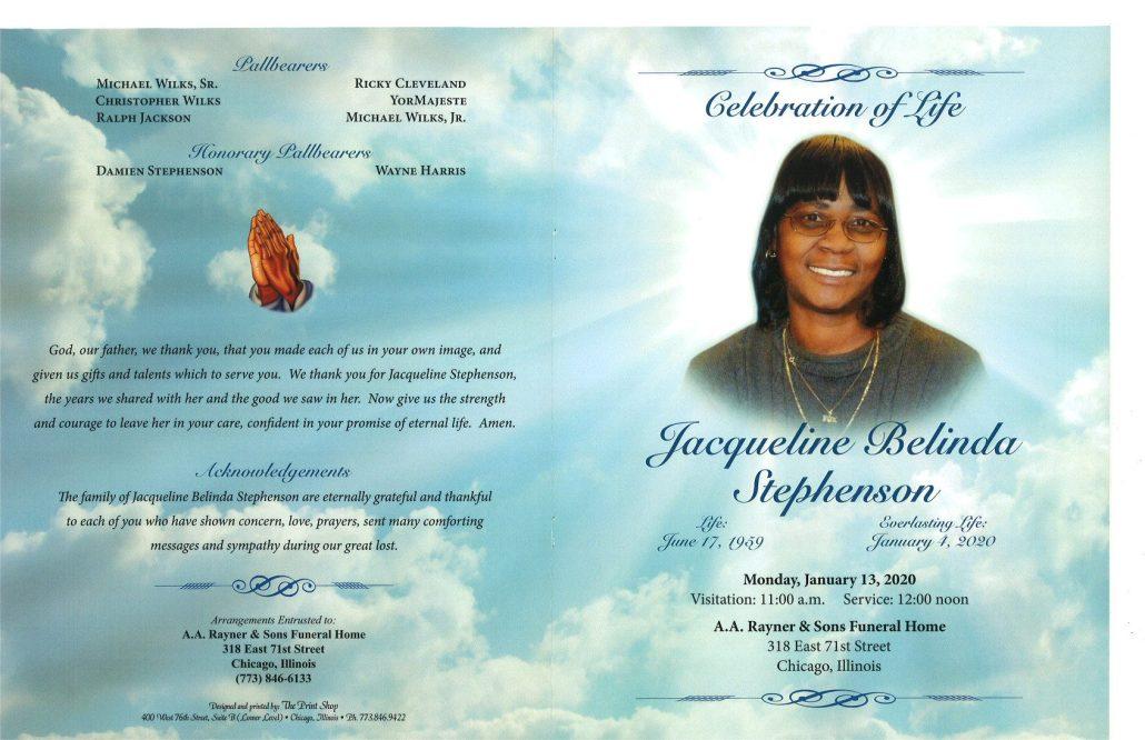 Jacqueline B Stephenson Obituary