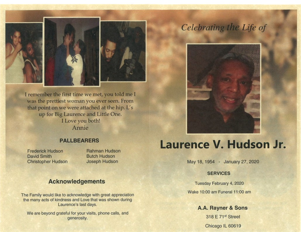 Laurence V Hudson Jr Obituary