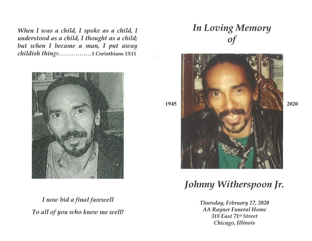 Johnny Witherspoon Jr Obituary