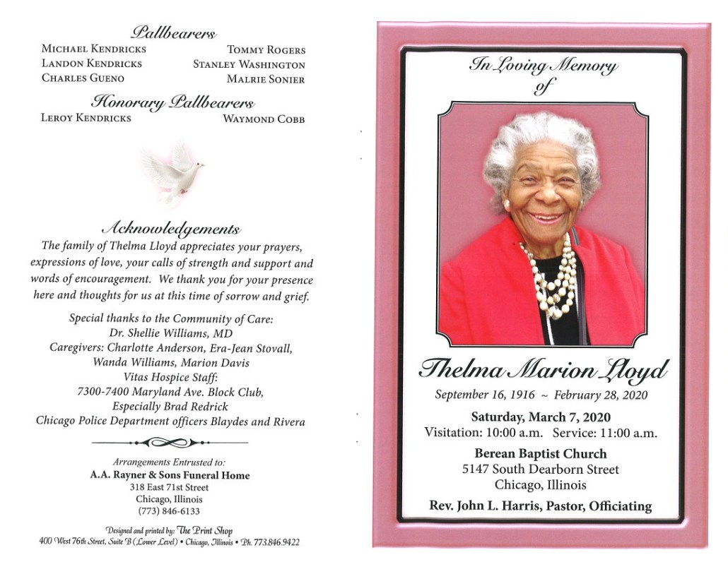 Thelma Marion Lloyd Obituary