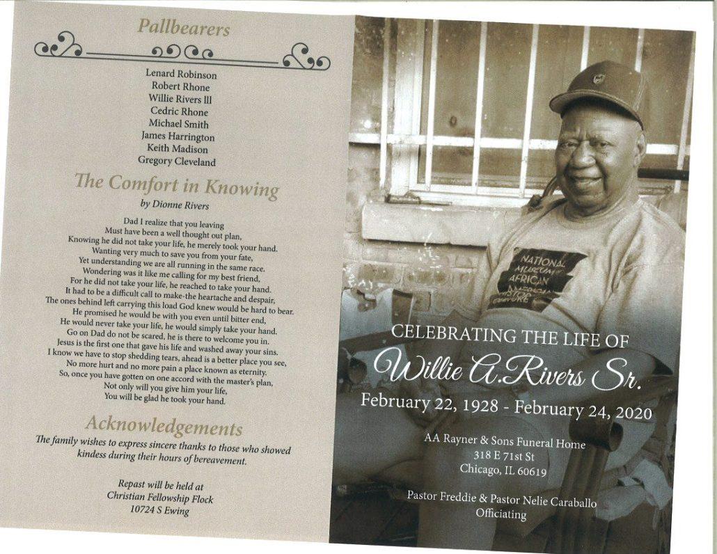 Willie A Rivers Sr Obituary