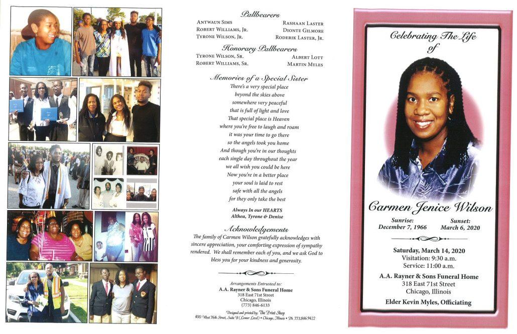 Carmen J Wilson Obituary